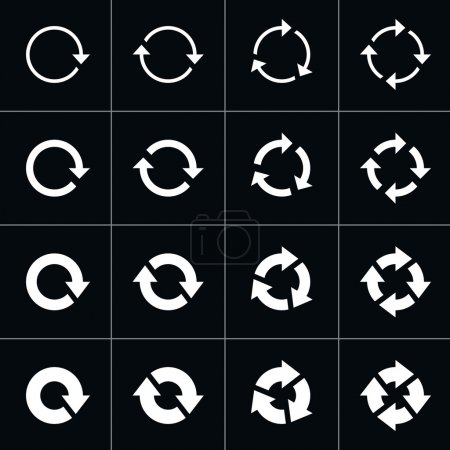 16 arrow pictogram refresh reload rotation loop sign set