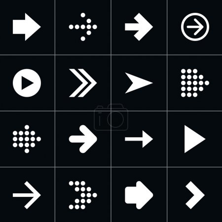 Illustration for 16 arrow pictogram white icon set. Modern contemporary solid plain flat mono minimal style. Simple web sign on black background. Vector illustration design elements saved in 8 eps - Royalty Free Image