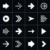 16 arrow pictogram white icon set