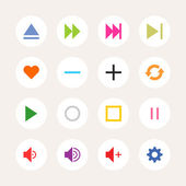 16 media sign icon set