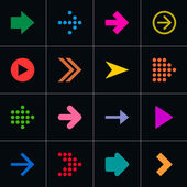 16 arrow pictogram set Volume 01 Simple sign color web icon on black background Modern contemporary solid plain flat mono minimal style This vector illustration design elements saved in 8 eps