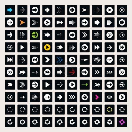 100 arrow sign icon set.