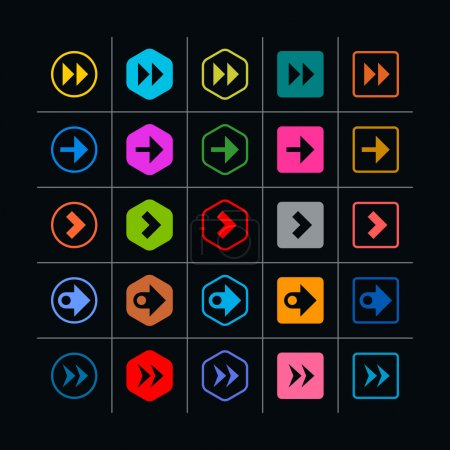 25 arrow sign icon set.