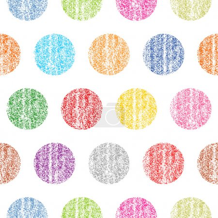 Illustration for Seamless pattern with color polka dots on a white background. Circle shape with old painted texture. Retro vintage wallpaper. Template swatch vector illustration graphic design element - Royalty Free Image