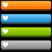 Colorful web buttons with heart sign