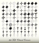 Collection of 100 isolated classic cross in three dimensions (perspective view)
