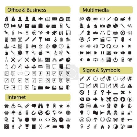 Illustration pour 270 icônes noires professionnelles pour le Web, les affaires, le bureau, les médias, les applications et les interfaces . - image libre de droit