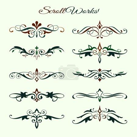 Scroll works Design, Ornamental decorative Elements