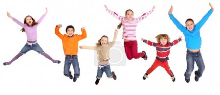 Photo for Litte kids jumping isolated in white - Royalty Free Image