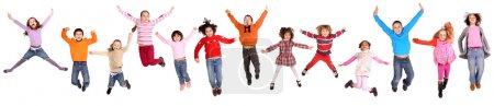 Photo for Little kids jumping isolated in white - Royalty Free Image