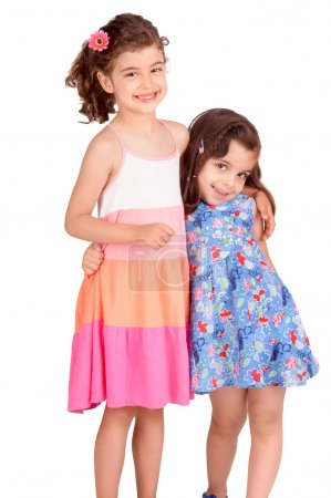 Photo pour Petites filles isolées en blanc - image libre de droit