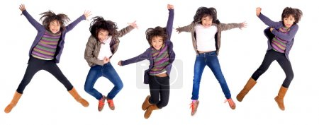 Photo for Little girl jumping isolated in white - Royalty Free Image