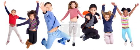 Photo for Group of kids jumping isolated in white - Royalty Free Image