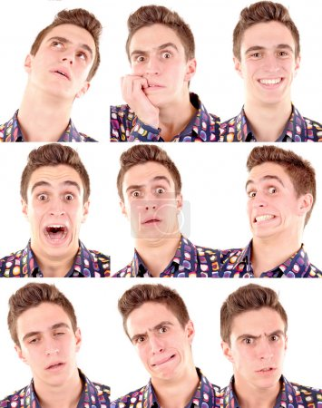 Photo for Teenage boy doing facial expressions isolated in white - Royalty Free Image