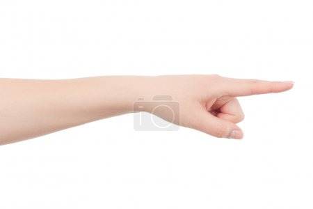Woman hand is pointing to something