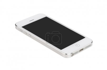 Photo for White modern smartphone with blank screen lies on the surface, isolated on white background. Whole image in focus, high quality. - Royalty Free Image