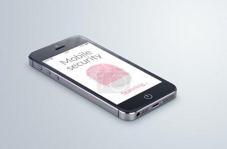 Photo pour Smartphone moderne noir avec numérisation d'empreintes digitales de sécurité mobile sur l'écran se trouve sur la surface grise . - image libre de droit