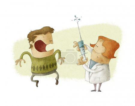 Photo for Doctor preparing to give an injection to scared patient - Royalty Free Image