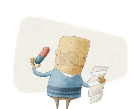 Photo pour Caricature homme lisant une ordonnance avant de prendre une pilule - image libre de droit