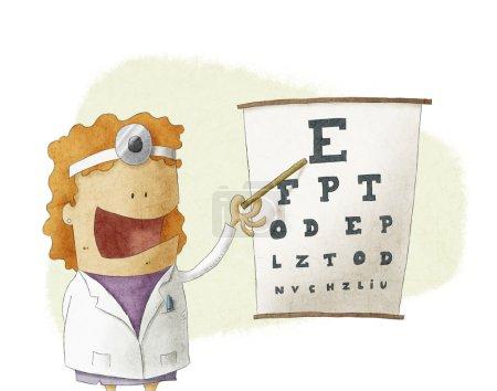 Médecin oculiste femelle pointant sur un tableau de test de la vue