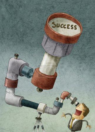 Foto de Ilustración del hombre de negocios que busca el éxito - Imagen libre de derechos