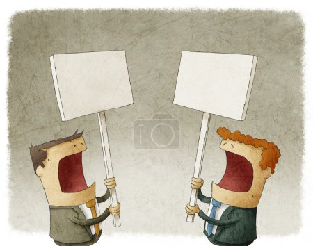 Photo for Two businessmen holding a sign protesting - Royalty Free Image