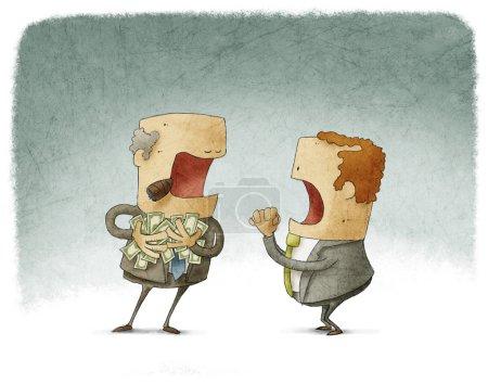 Businessman asking for a greedy man