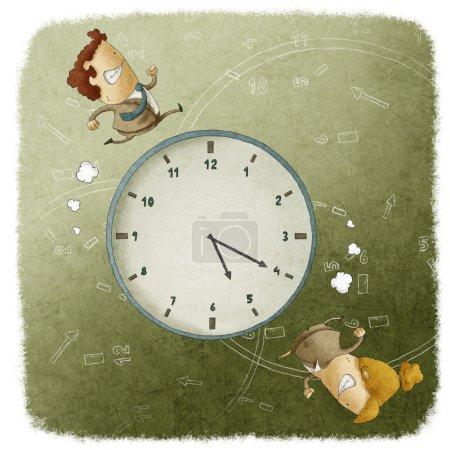 Business Men and Women Running Around a Clock