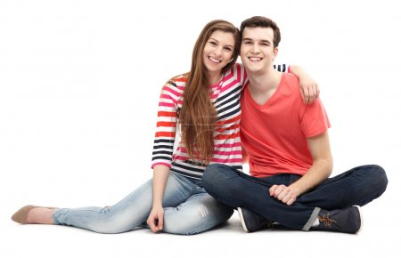Photo for Young couple sitting - Royalty Free Image