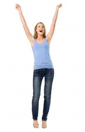 Photo for Woman with arms raised - Royalty Free Image
