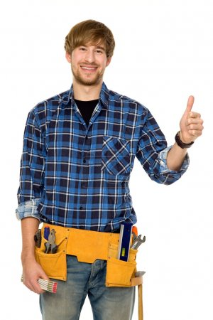 Handyman with thumbs up