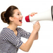 Attractive woman with megaphone...