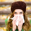 Woman with a cold...