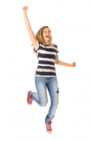 Photo for Woman jumping with joy - Royalty Free Image