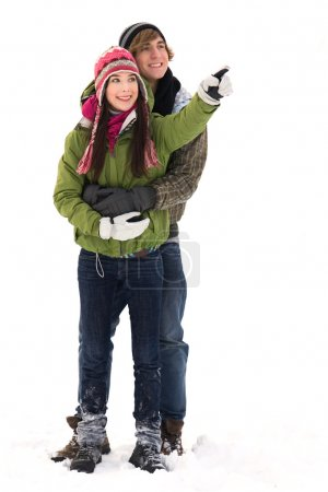 Teenage couple in winter clothing