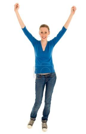 Photo pour Femme avec bras levés - image libre de droit