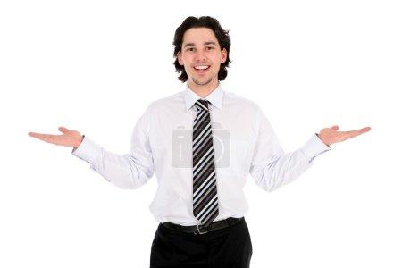 Photo pour Homme d'affaires les bras tendus - image libre de droit