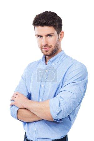 Photo pour Beau homme souriant isolé sur blanc - image libre de droit