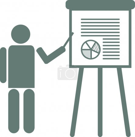 Illustration for Vector illustration of a businessman presenting project results. A man who is explaining the results of a research. - Royalty Free Image