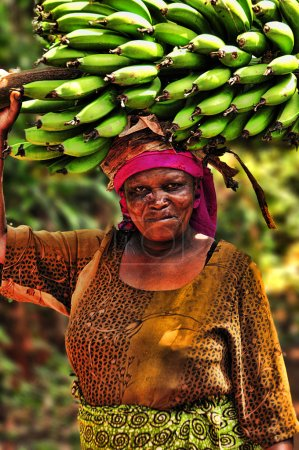 A Woman Carrying Banana's Cluster On Her Head, On the way to the Banana Market in Marangu village, Tanzania.