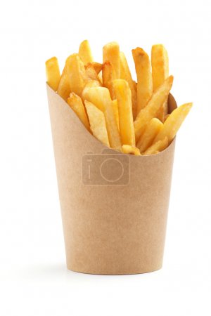 French fries in a paper wrapper on white backgroun...