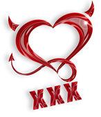Rotes Herz mit Hörnern und Schwanz