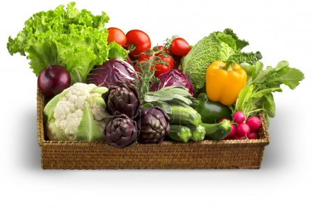 Photo for Wicker basket of fresh vegetables isolated on white background - Royalty Free Image