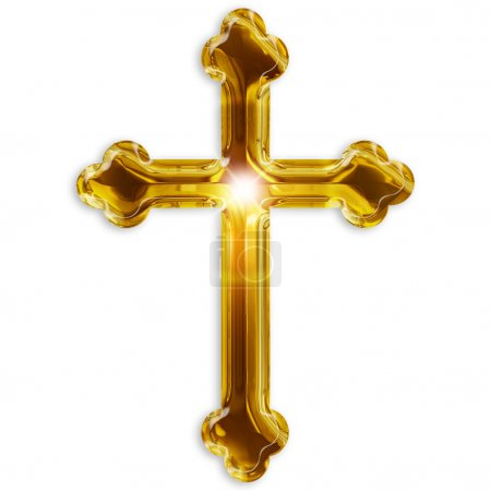 Photo pour Symbole religieux du crucifix isolé sur fond blanc - image libre de droit
