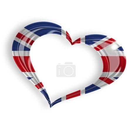 Photo pour Coeur avec le drapeau britannique sur fond blanc - image libre de droit