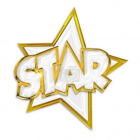Photo pour Shining star mot isolé sur fond blanc - image libre de droit