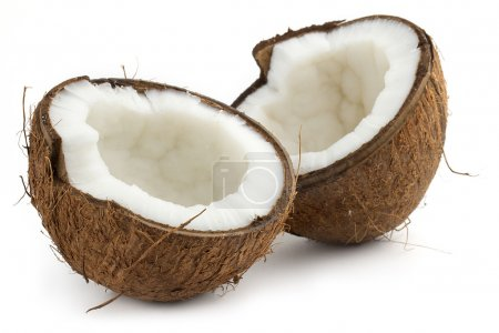 coconut cutted in half on white background