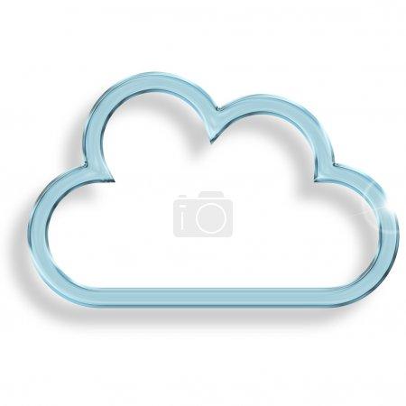 Photo pour Un nuage de verre bleu sur fond blanc - image libre de droit