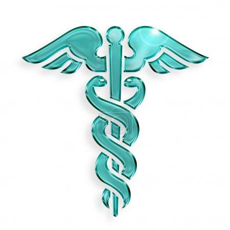 Photo pour Symbole médical caducée sur fond blanc - image libre de droit