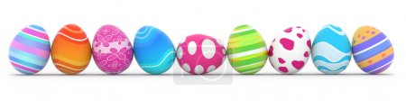 Colorful easter eggs in row on white background